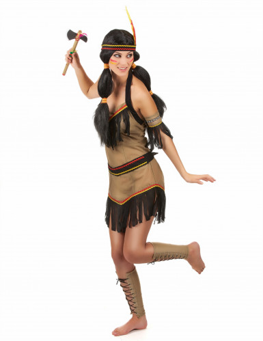 Indiaan kostuum met zwarte franjes voor vrouwen-1