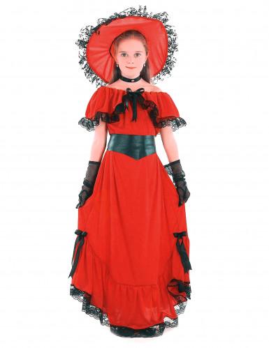 Rood Scarlett O'Hara kostuum voor meisjes