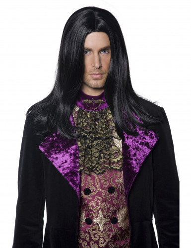 Lange zwarte gravenpruik voor mannen Halloween