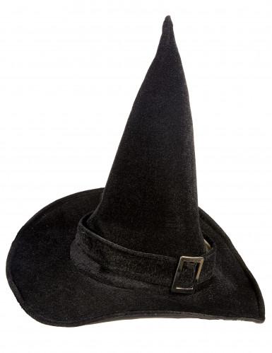 Fluwelen heksenhoed voor volwassenen Halloween-1