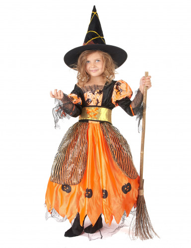 Oranje pompoen heksen outfit voor meisjes