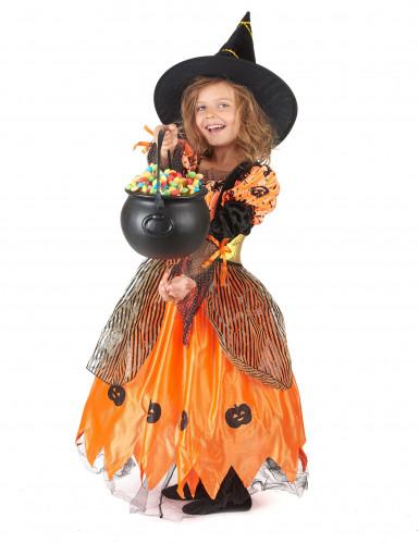 Oranje pompoen heksen outfit voor meisjes-1