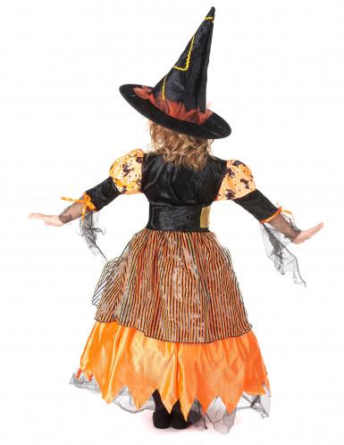 Oranje pompoen heksen outfit voor meisjes-2