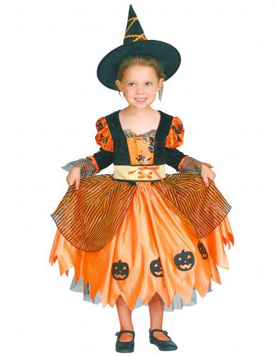 Oranje pompoen heksen outfit voor meisjes-3