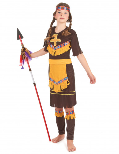 Geel en beige indiaan kostuum voor kinderen