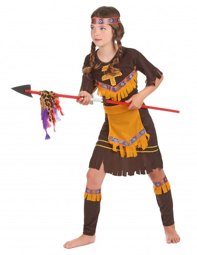 Geel en beige indiaan kostuum voor kinderen-1