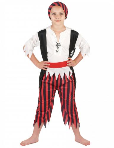Zwart en rood piraten kostuum voor jongens