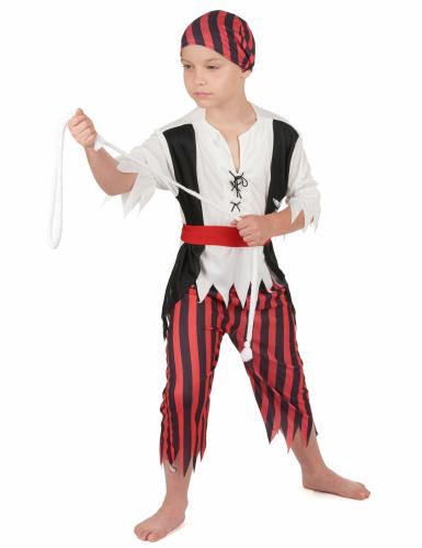 Zwart en rood piraten kostuum voor jongens-1