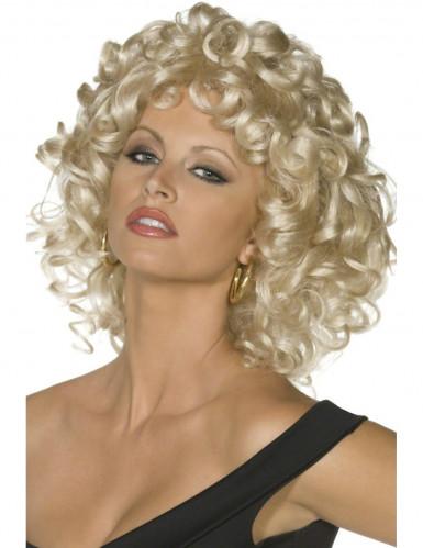 Blonde gekrulde Grease™ pruik voor vrouwen