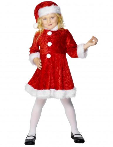 Fluweelachtig kerstvrouwkostuum voor meisjes