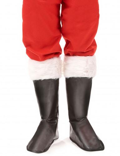 Zwarte kerstman overlaarzen voor volwassenen-1