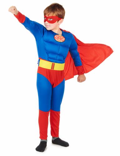 Rood met blauw superhelden kostuum voor jongens-1