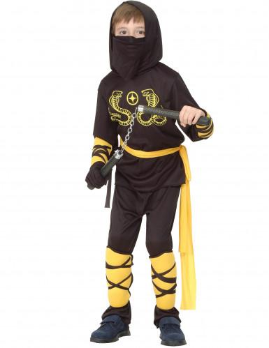 Zwart en geel ninjakostuum voor jongens