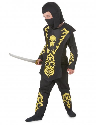 Geel doodskop ninjakostuum voor jongens-1