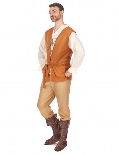 Oranje en beige middeleeuwse boer kostuum voor heren-1