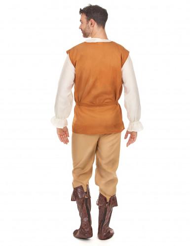 Oranje en beige middeleeuwse boer kostuum voor heren-2