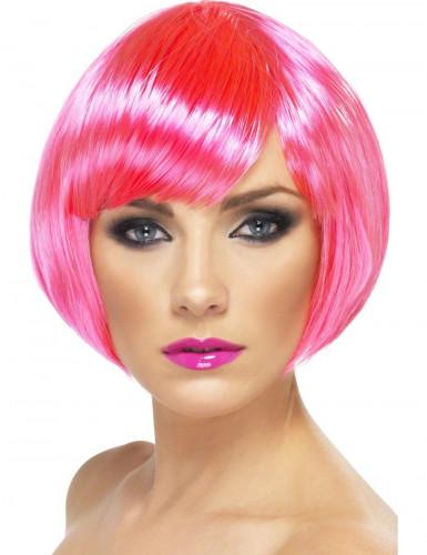Fluo roze korte damespruik