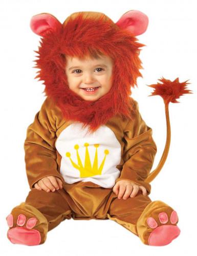 Oranje leeuwenpak met kroon voor baby's