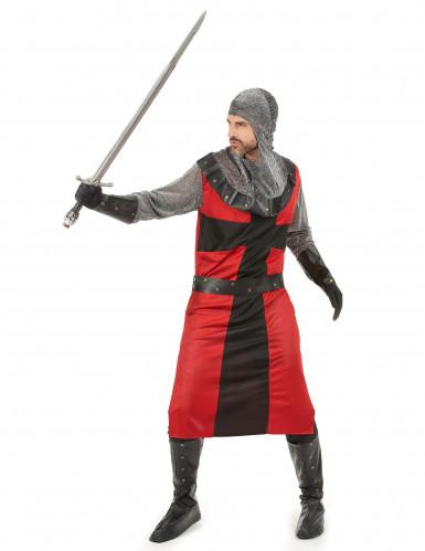 Rode en grijze middeleeuws ridder outfit voor heren-1