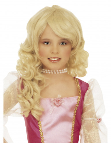 Blonde prinsessenpruik voor meisjes