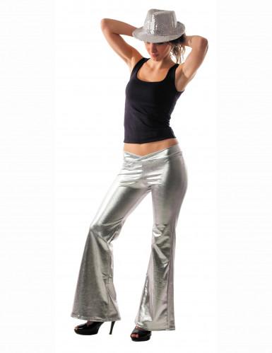 Zilveren discobroek voor vrouwen
