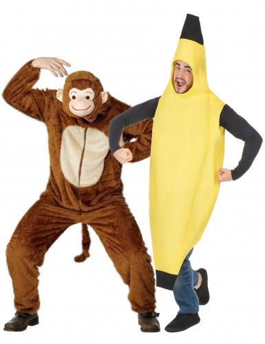 Apen-en bananenkostuum voor een koppel (voor volwassenen)