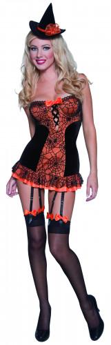 Verkleedkostuum voor dames sexy heks met oranje spinnenweb Halloween kleding