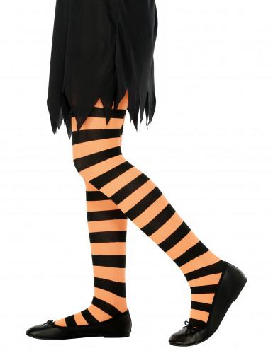 Oranje met zwart gestreepte panty voor kinderen