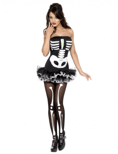 Sexy halloween skelet kostuum voor dames-1
