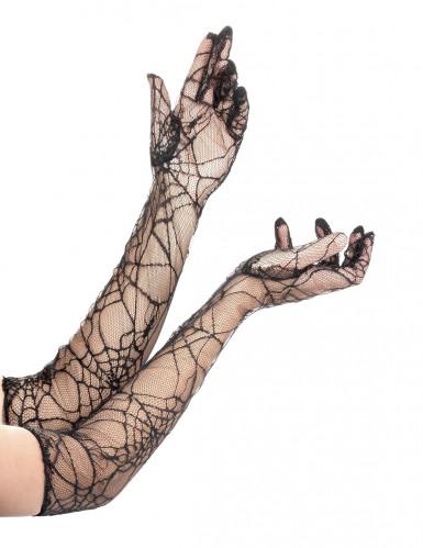 Lange spinnenwebhandschoenen voor volwassenen Halloween