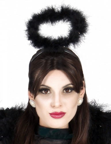 Zwarte engel haarband met halo voor volwassenen