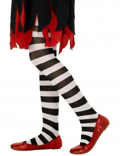 Zwart-wit gestreepte panty voor kinderen