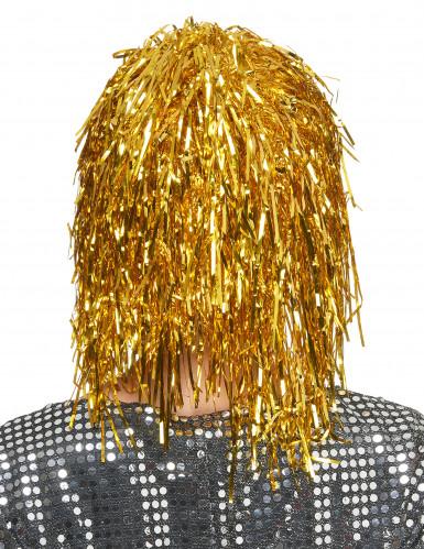 Goudkleurige glitterpruik voor volwassenen-1