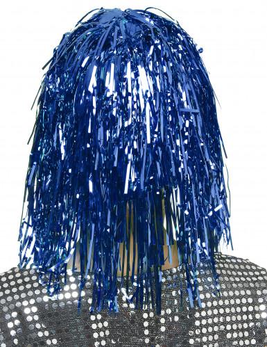 Blauwe glitterpruik voor volwassenen-1