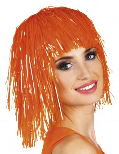 Oranje glitterpruik voor volwassenen