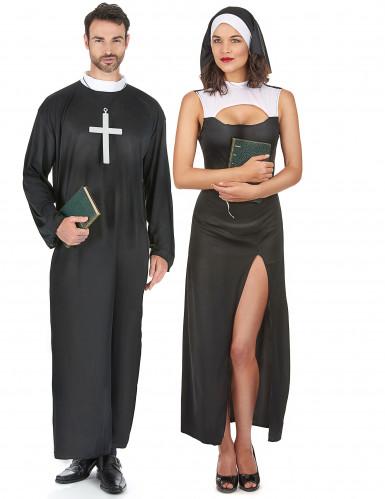 Koppel kostuums van non en priester