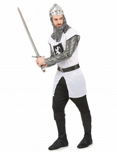 Zilverkleurig en wit ridderkostuum voor mannen-1