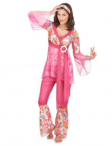 Roze hippiekostuum voor dames