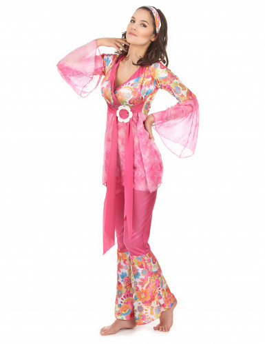 Roze hippiekostuum voor dames-1