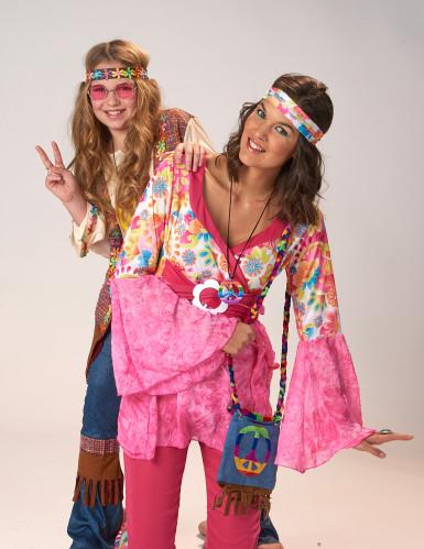 Roze hippiekostuum voor dames-3