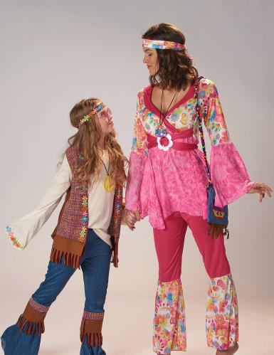 Roze hippiekostuum voor dames-4