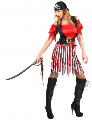 Piratenkostuum met gestreepte rok voor dames