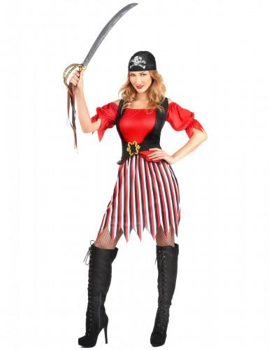 Piratenkostuum met gestreepte rok voor dames-1