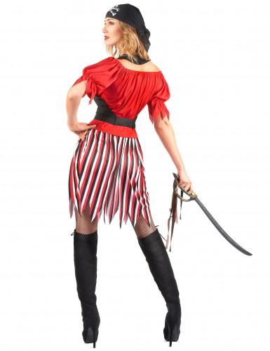 Piratenkostuum met gestreepte rok voor dames-2