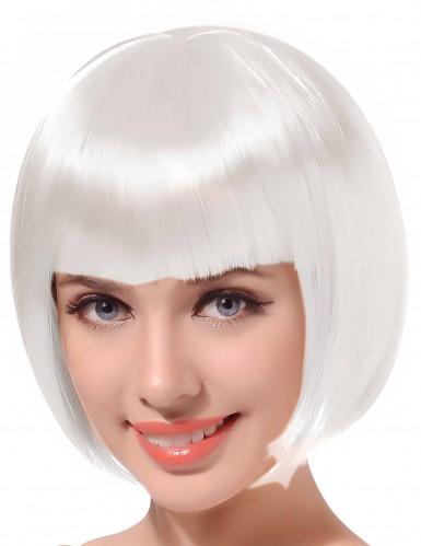 Korte witte bob damespruik
