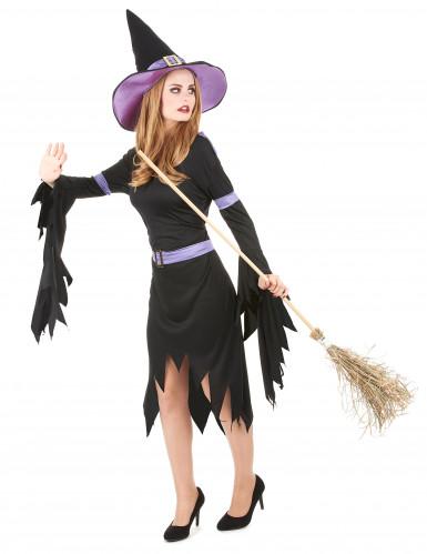 Heksen kostuum met paarse hoed voor vrouwen-1