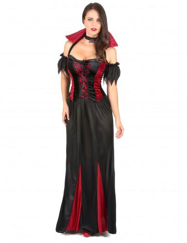 Lange vampieren jurk voor dames zwart en rood