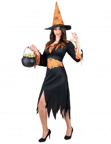 Zwart met oranje heksen kostuum voor vrouwen-1