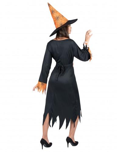 Zwart met oranje heksen kostuum voor vrouwen-2
