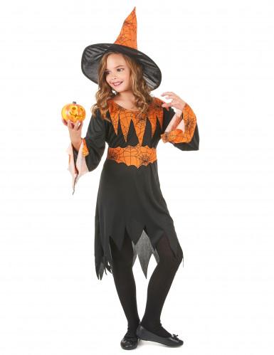 Oranje spinnenweb heksenkostuum voor kinderen-1